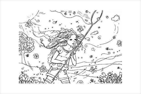 Catching Butterfly Coloring Page