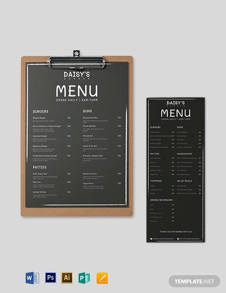 chalk board burger menu template