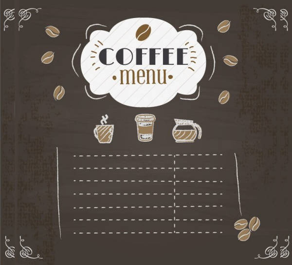 Chalkboard Coffee Menu Design