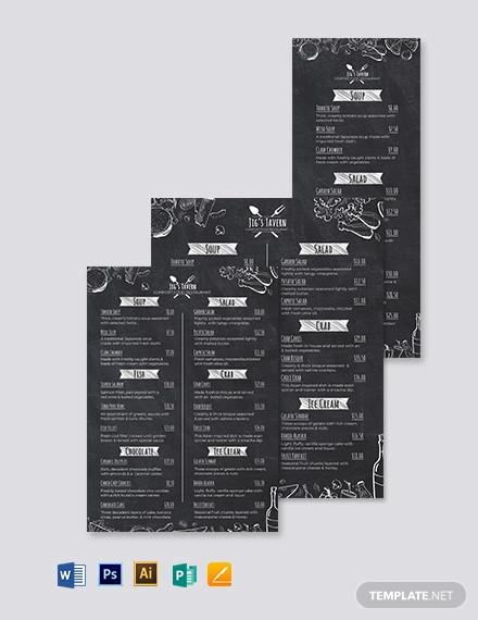 chalkboard menu design template