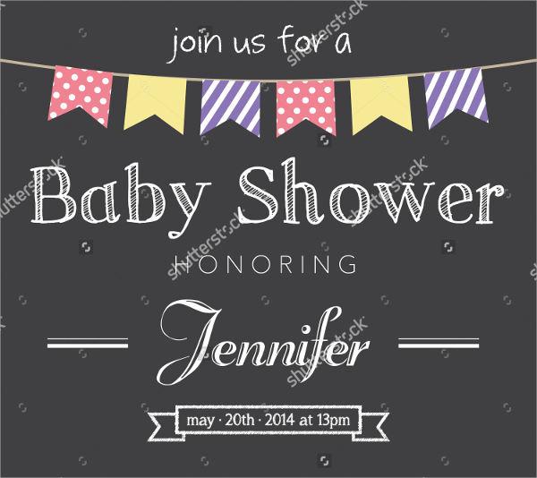 Chalkboard Vintage Baby Shower Invitation
