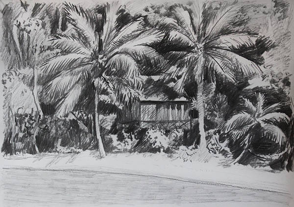 Charcoal Beach Drawing