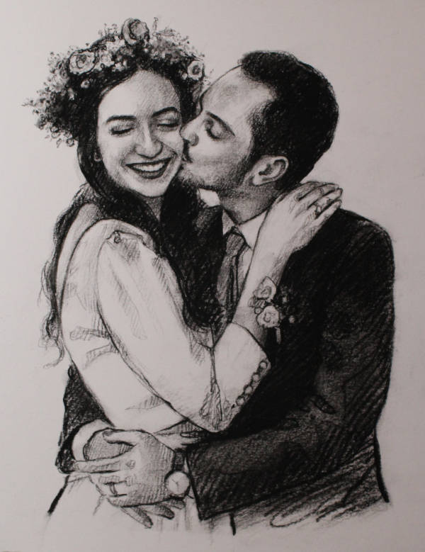 Charcoal Couple Drawing