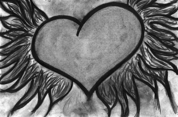 Charcoal Heart Drawing