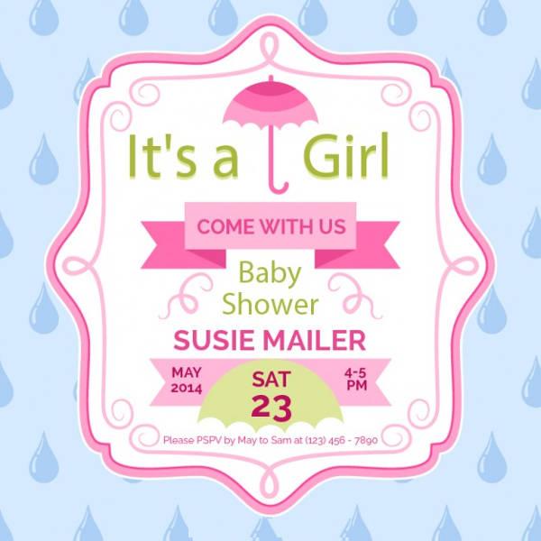 Cheap Baby Shower Invitation for Girls