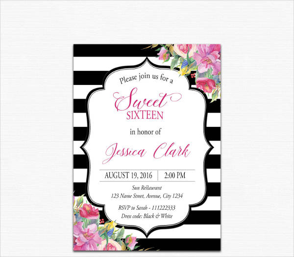Cheap Sweet Sixteen Invitation