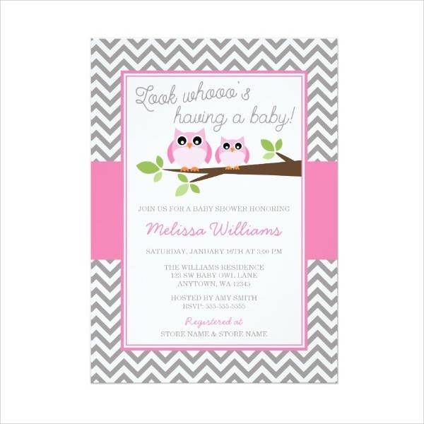 Chevron Owl Baby Shower Invitation