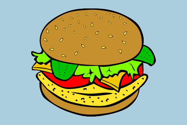 Chicken Burger Food Clipart