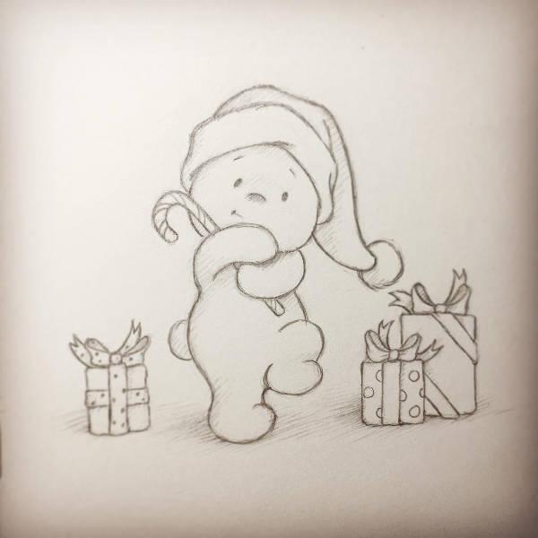 Christamas Teddy Bear Drawing
