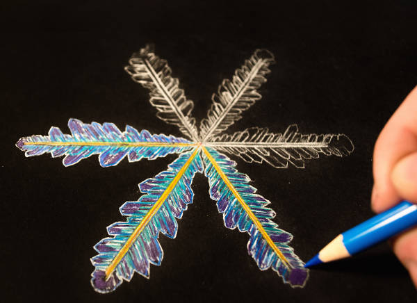 Colored Snowflake Drawing