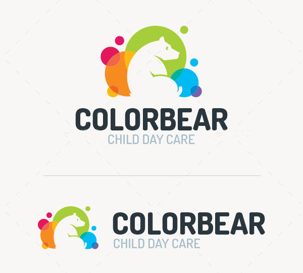 Colorful Bear Logo Template