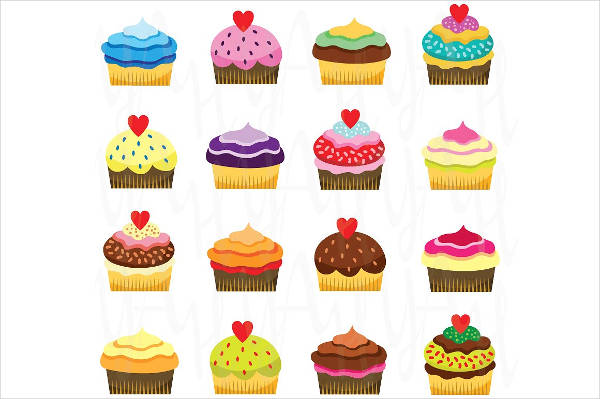 Colorful Cupcake Clipart