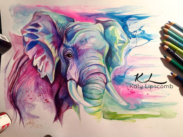 Colorful Elephant Drawing