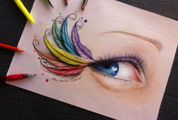 Colorful Feather Drawing