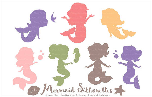 Colorful Mermaid Silhouettes