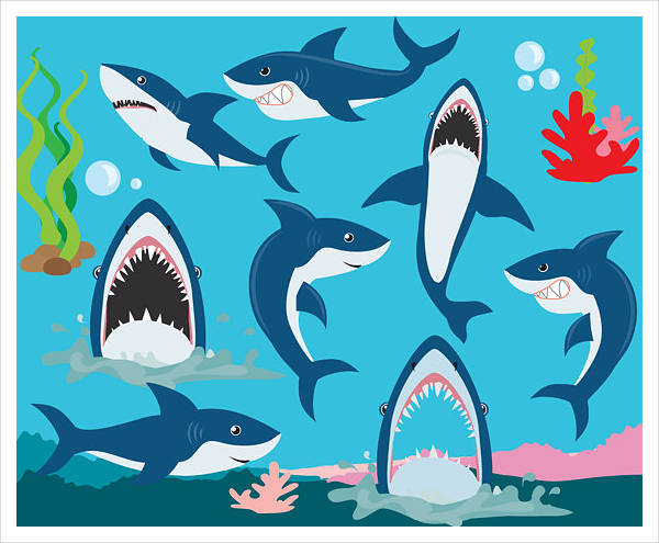 Colorful Shark Clipart