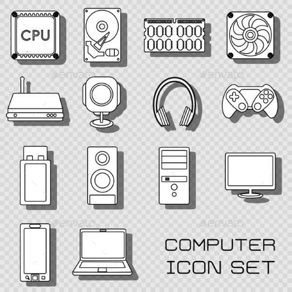 Computer Black and White Icons