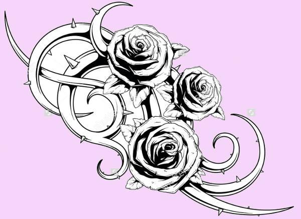 Cool Rose Tattoo Design