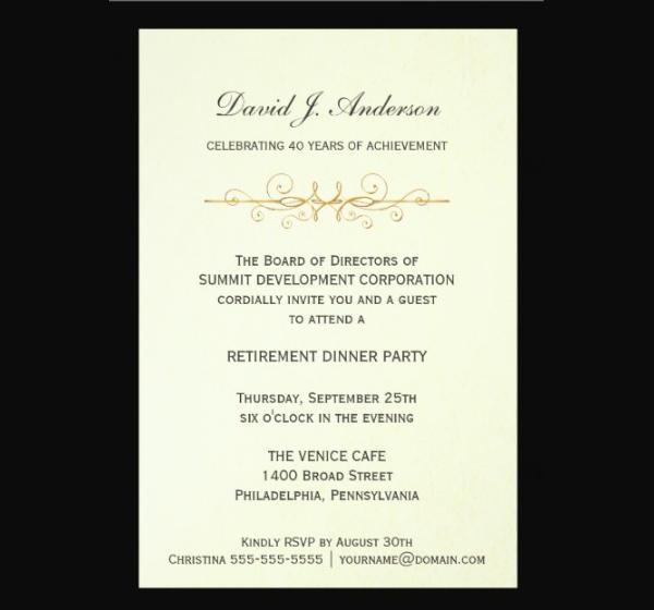 Corporate Retirement Party Invitation