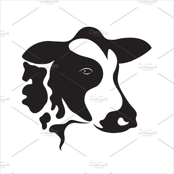 Cow Face Silhouette
