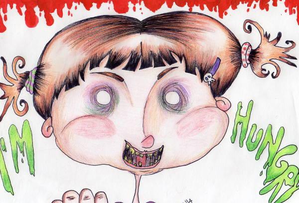 Creepy Kid Drawing