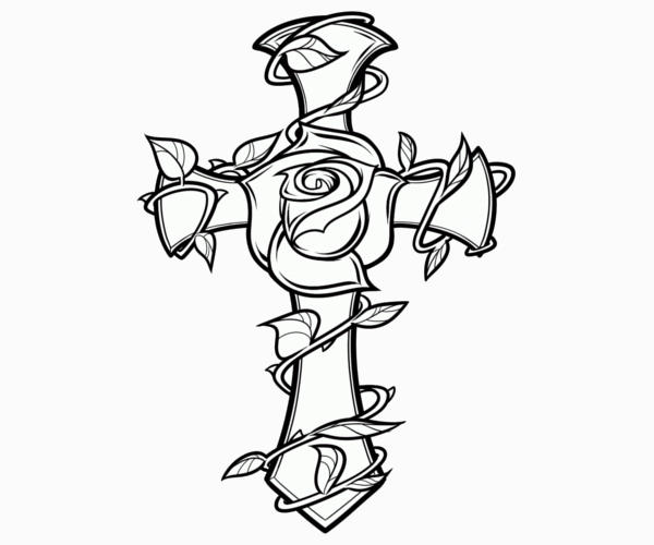cross with rose coloring page