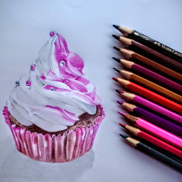 Cupcake Pencil Drawing