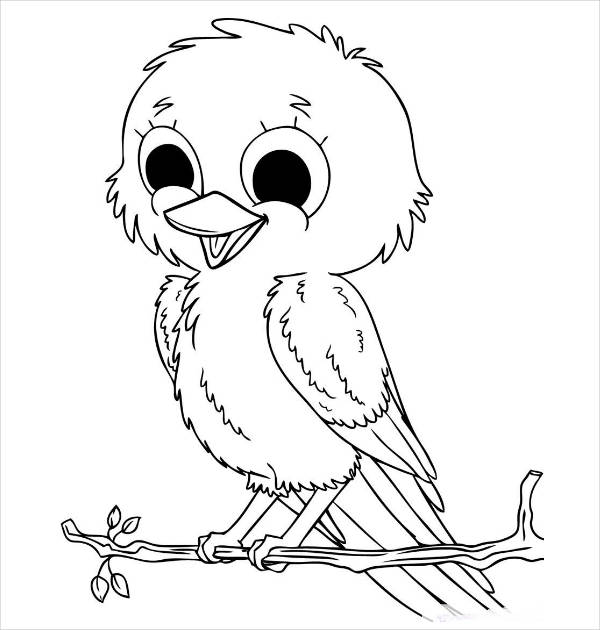 cute baby bird coloring page