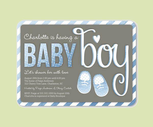 Cute Boy Baby Shower Invitation