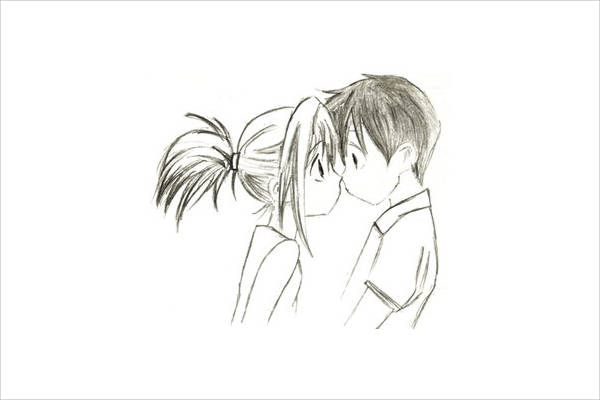 Cute cartoon love drawing