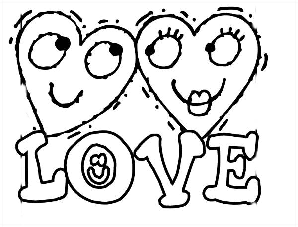 Cute Love Coloring Page