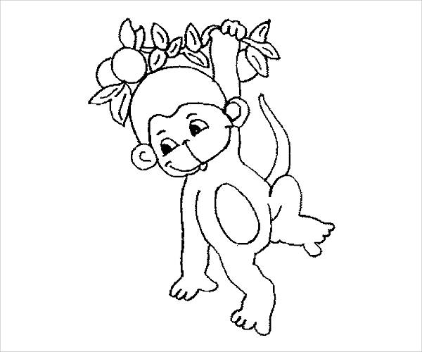 cute monkey coloring page
