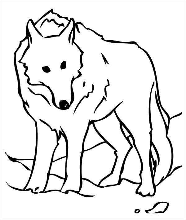 Cute Wolf Coloring Page