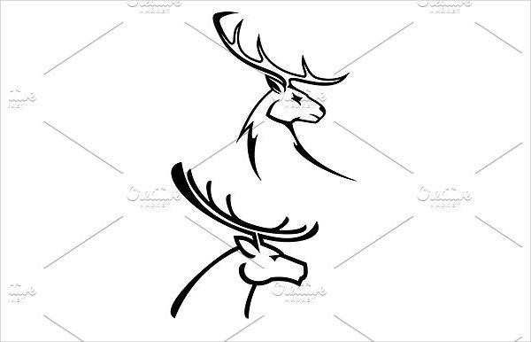 Deer Head Silhouette Drawing