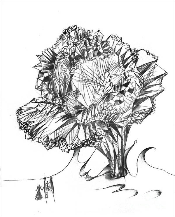 Diamond Crystal Flower Drawing