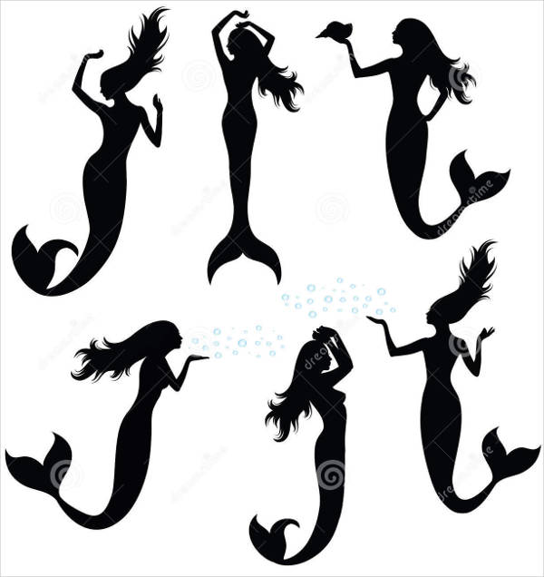 Different Mermaid Silhouettes