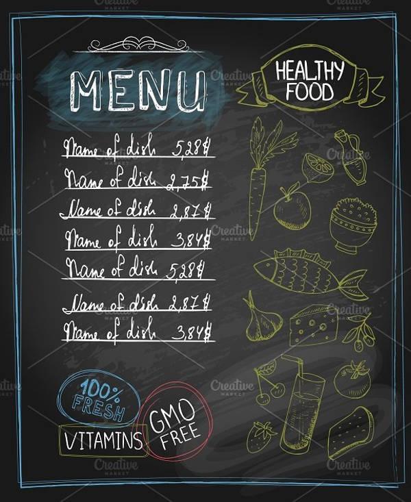 Healthy Food Chalkboard Menu Design
