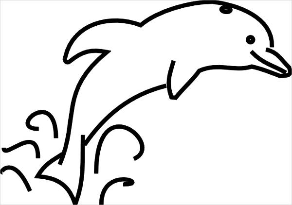 Dolphin Black and White Clipart