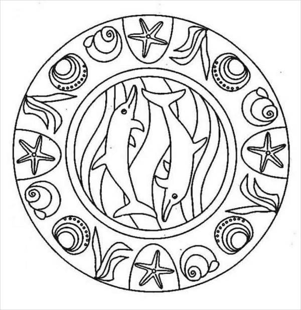 Dolphin Mandala Coloring Page