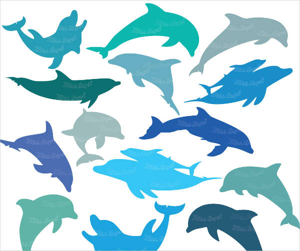 Dolphins silhouettes clip art