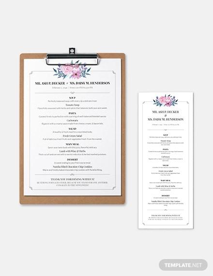 downloadable wedding menu template