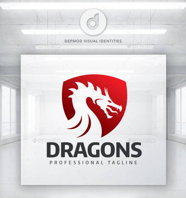 Dragon Red and White Logo
