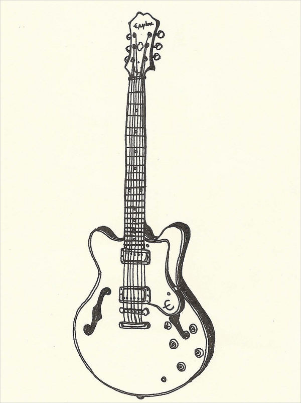 easy guitar drawing