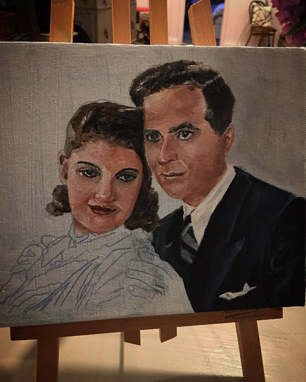 Easy Vintage Couple Painting