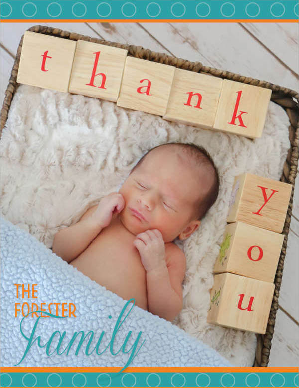 Elegant Baby Thank You Card