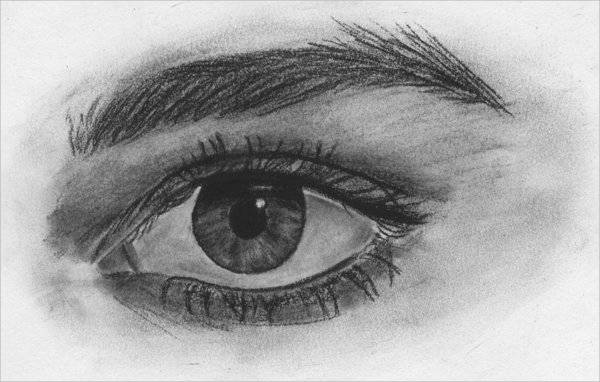 Elegant Eye Characoal Drawing