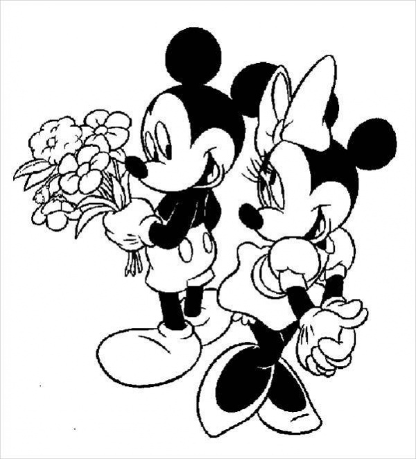 Elegant Minnie Mouse Coloring Page