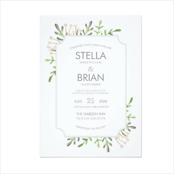 Elegant Watercolor Wedding Invitation