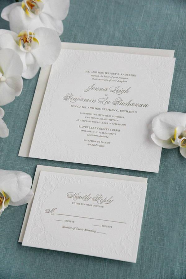 Elegant letterpress Wedding Invitation