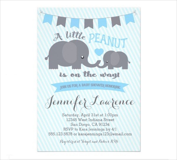 Elephant Baby Shower Invitation for Boy